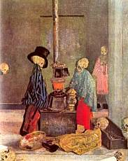 Ensor - Skeletons warming at a stove