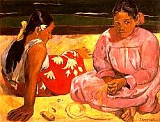 Due donne tahitane sulla spiaggia