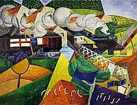 Gino Severini treno della croce rossa attraversa un paese